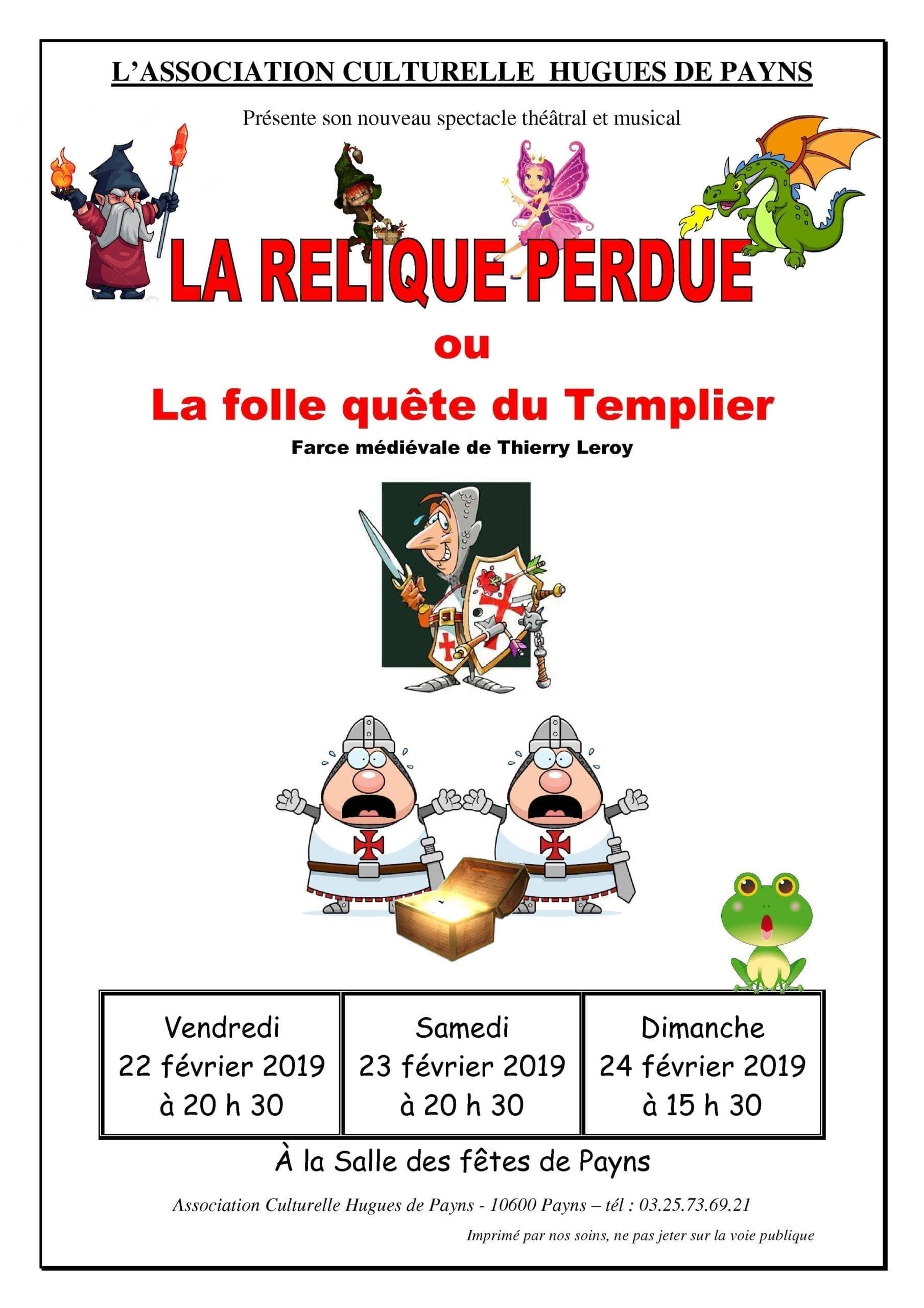 Comédie musicale La relique perdue ou La folle quête du Templier @ Salle des Fêtes de Payns